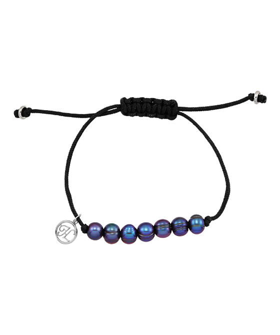Black Ringed Fresh Water Cultured Pearl Bracelet