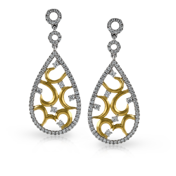 Zeghani - 14K Gold Two-Tone Diamond Earrings