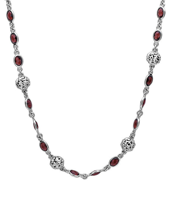 Charles Krypell Sterling Silver Garnet Necklace