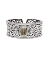 Charles Krypell Sterling Silver White & Brown Diamond Hinged Cuff Bracelet