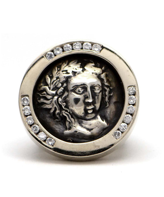 Solid 18K White Gold Ancient Coin Ring with Genuine Diamonds 1.10cttw 52.5g -  Estate Jewelry