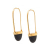 Solid 14K Yellow Gold & Black Lava Drop Earrings 6.3g -  Estate Jewelry