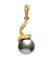 Solid 18K Yellow Gold Tahitian Pearl & Genuine Diamond Spiral Pendant 4.8g -  Estate Jewelry