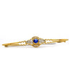 Solid 18K Yellow Gold Genuine Sapphire & Diamond Brooch! 6.8grams  -  Estate Jewelry