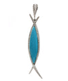 Solid 18 Karat White Gold Genuine Turquoise and Natural Diamond Pendant 13.8g -  Estate Jewelry