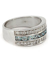 Solid 18 Karat White Gold Genuine Aquamarine and Diamond Band -  Estate Jewelry