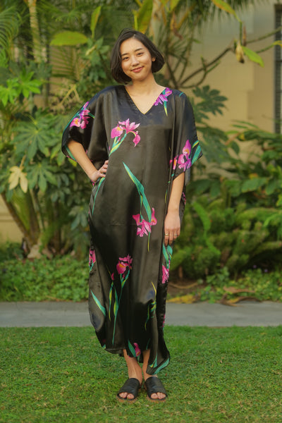 Scarlet Long Caftan - BLACK