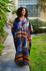 Peacock Long Caftan- Black