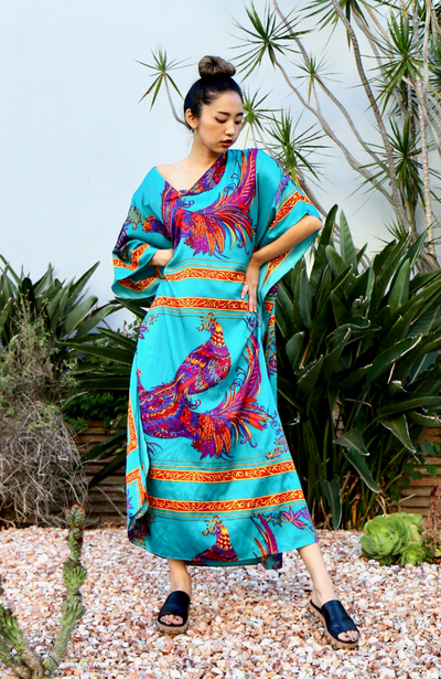 Peacock Long Caftan - Teal