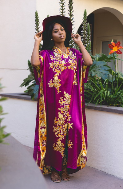 Taylor Long Caftan- Burgundy