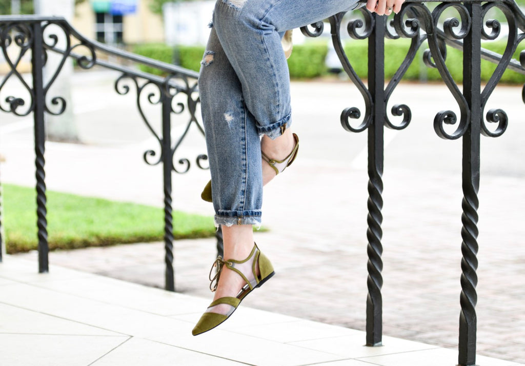 Nikita in our Olive Garcia Flats