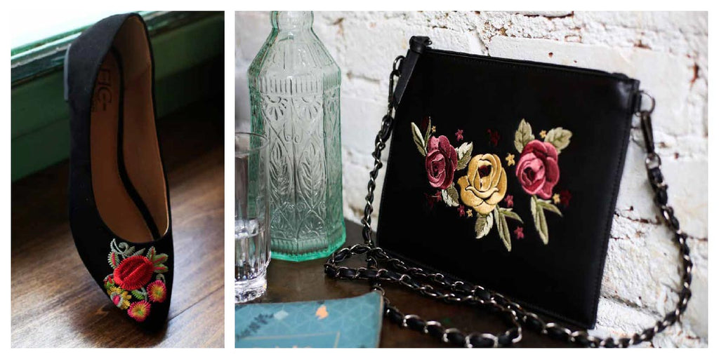 FFC New York black suede flower embroidery loafer & PORTLAND black vegan leather flower embroidery crossbody shoulder bag