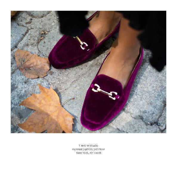 FFC New York CINDY burgundy velvet horse-bit buckle detailed loafer