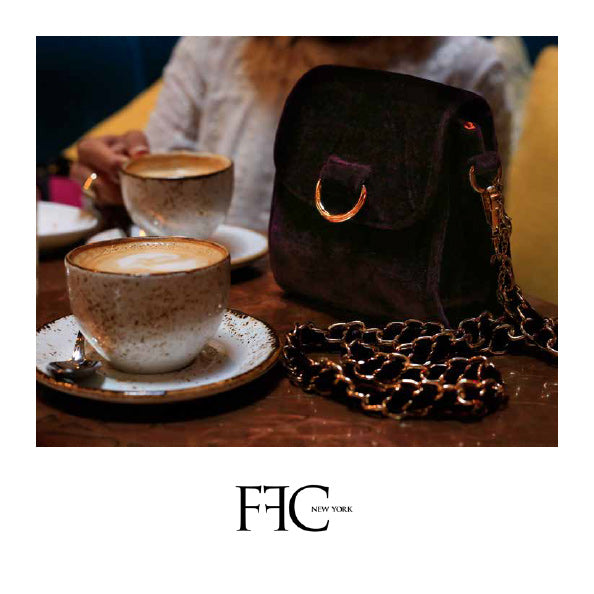 FFC New York VIRGINIA burgundy velvet crossbody mini bag
