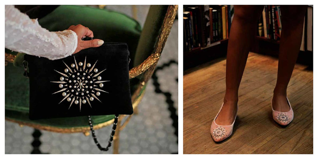 FFC New York CHARLESTON black velvet pearl embroidery crossbody shoulder bag & DAISY blush velvet studs embroidery loafer