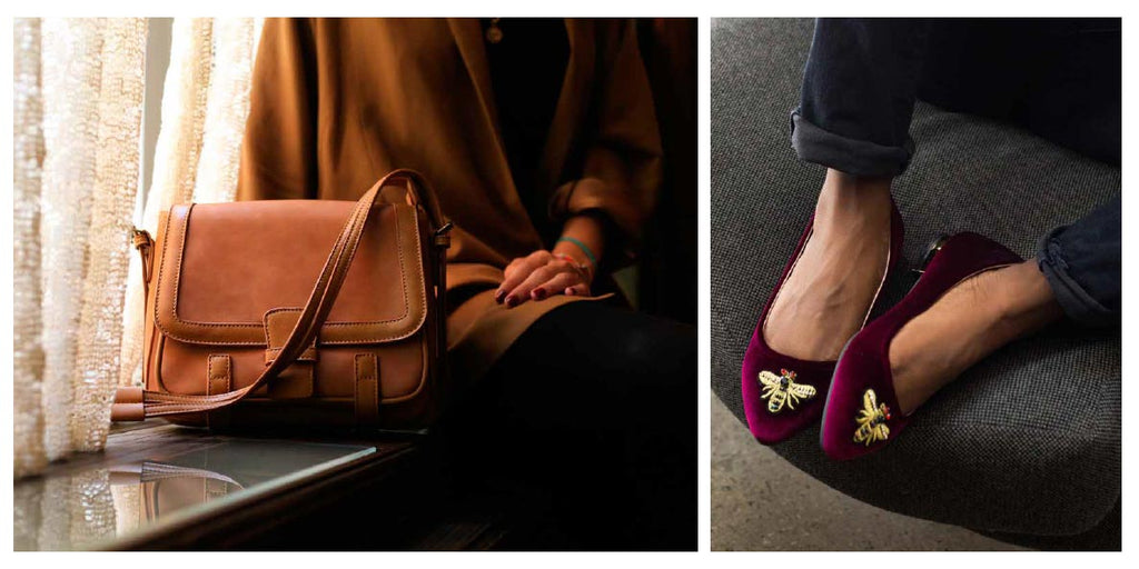 FFC New York ARIZONA camel vegan leather crossbody shoulder bag & MIA burgundy velvet bee embellishment loafer