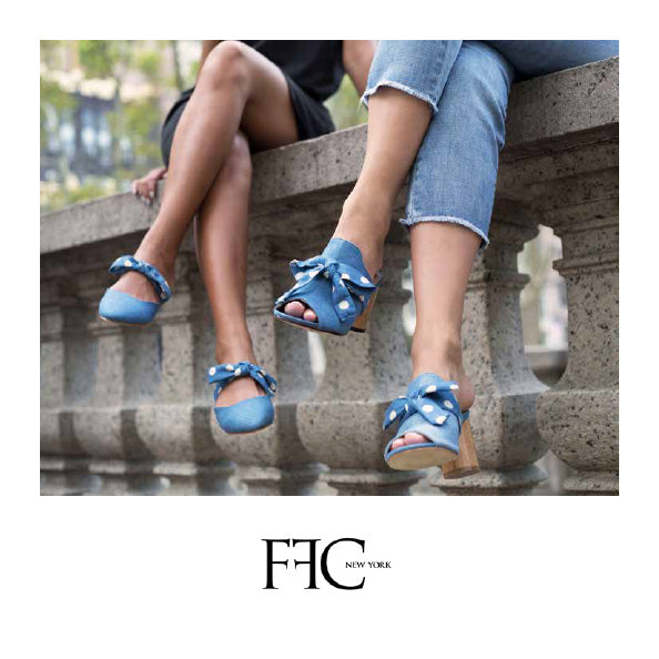 FFC New York denim polka dots flat slides & high heel mules