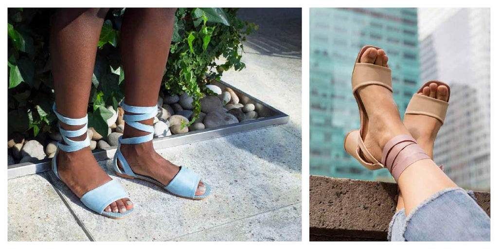 FFC New York blue suede ankle wrap flat sandals & nude vegan leather ankle wrap high heel sandals