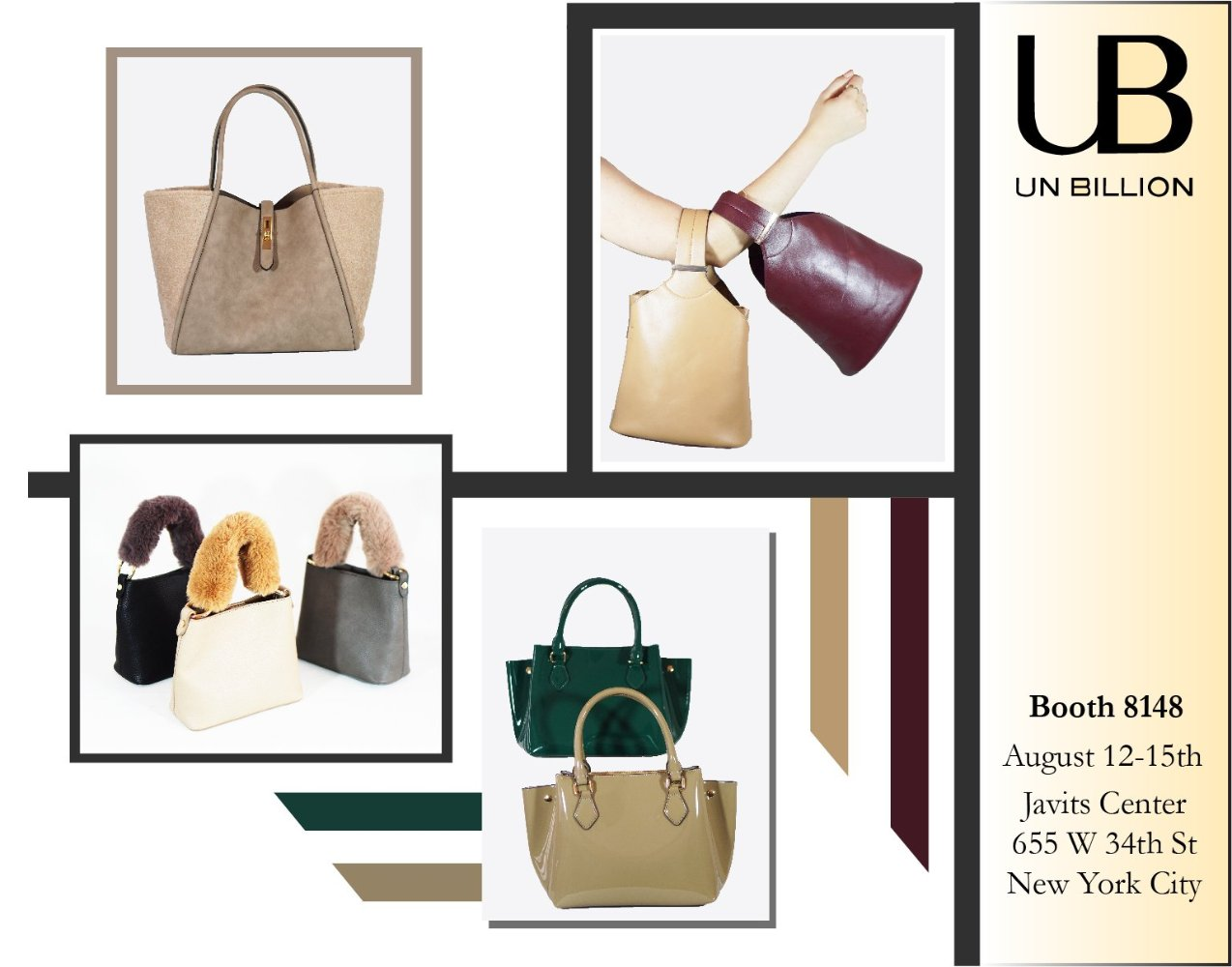 UN BILLION Handbags are at the Javits Booth 8148 NY NOW Tradeshow Giftshow  August 12-15