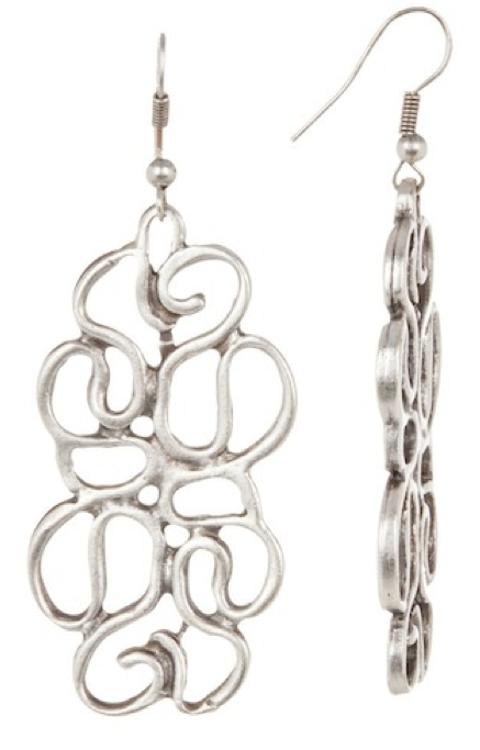 Pewter Antique Open Work Earrings