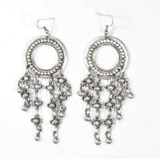 Pewter Floral Chain Earrings