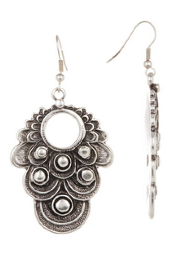 Antique Silver Plated Engraved Dangle Earrings