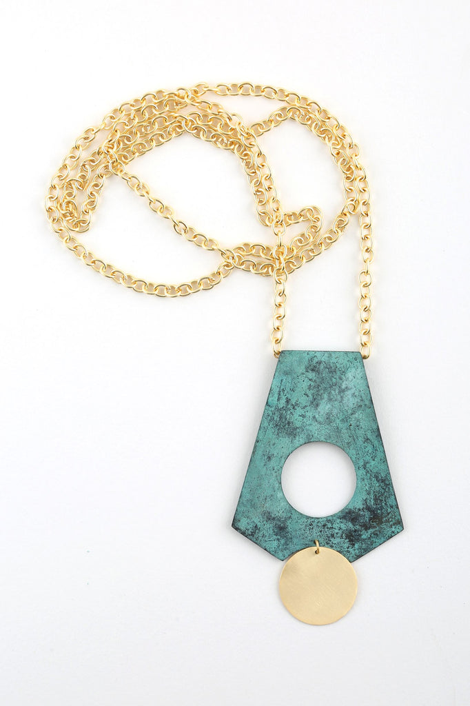 Drop Necklace in Patina & Gold