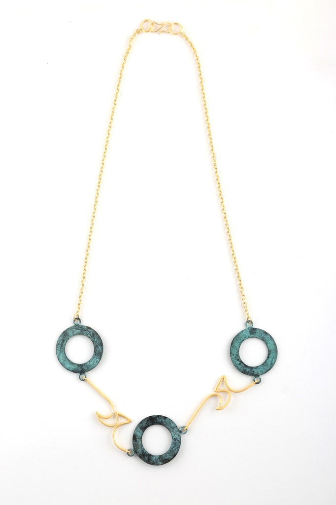 Three Circle Necklace in Patina  & Gold