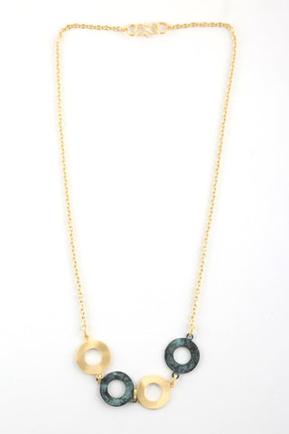 Circle Link Necklace in Patina & Gold