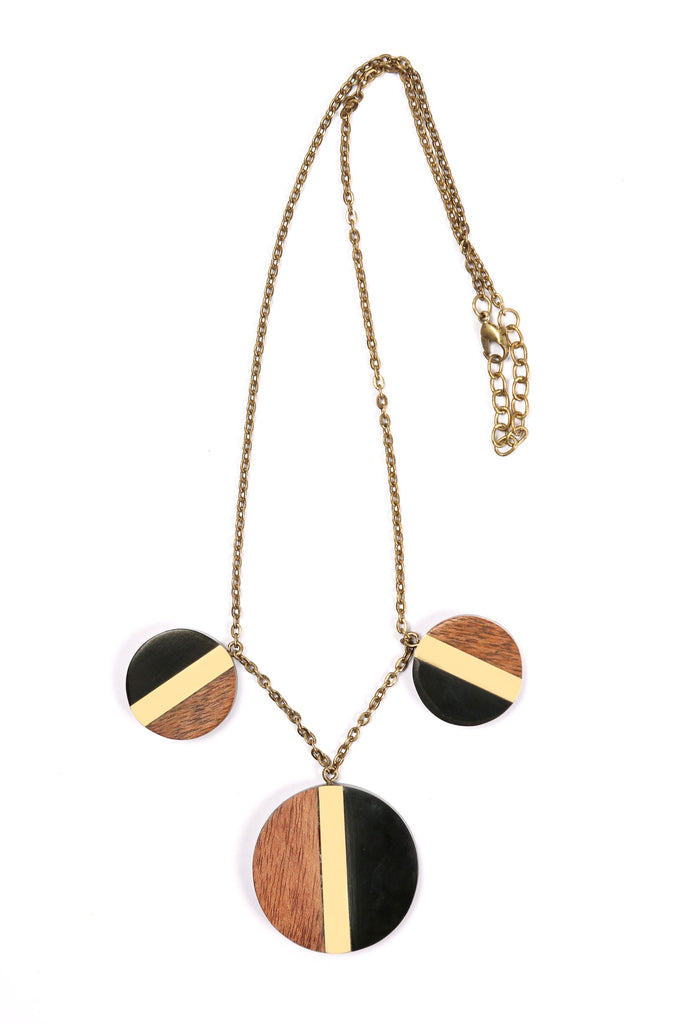 Three Pendant Necklace in Black/Gold/Wood Combo
