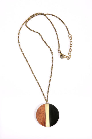 Circle Pendant Necklace in Black/Gold/Wood Combo