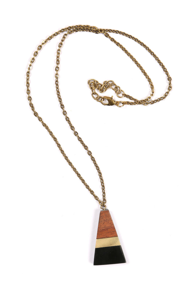 Triangle Shape Necklace in Black/Gold/Wood Combo