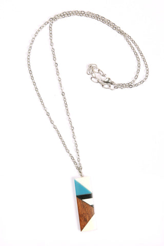 Rectangle Color-Block Necklace in Blue/White/Wood Combo
