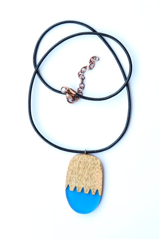 Oval Blue Resin/Wood Combo Necklace