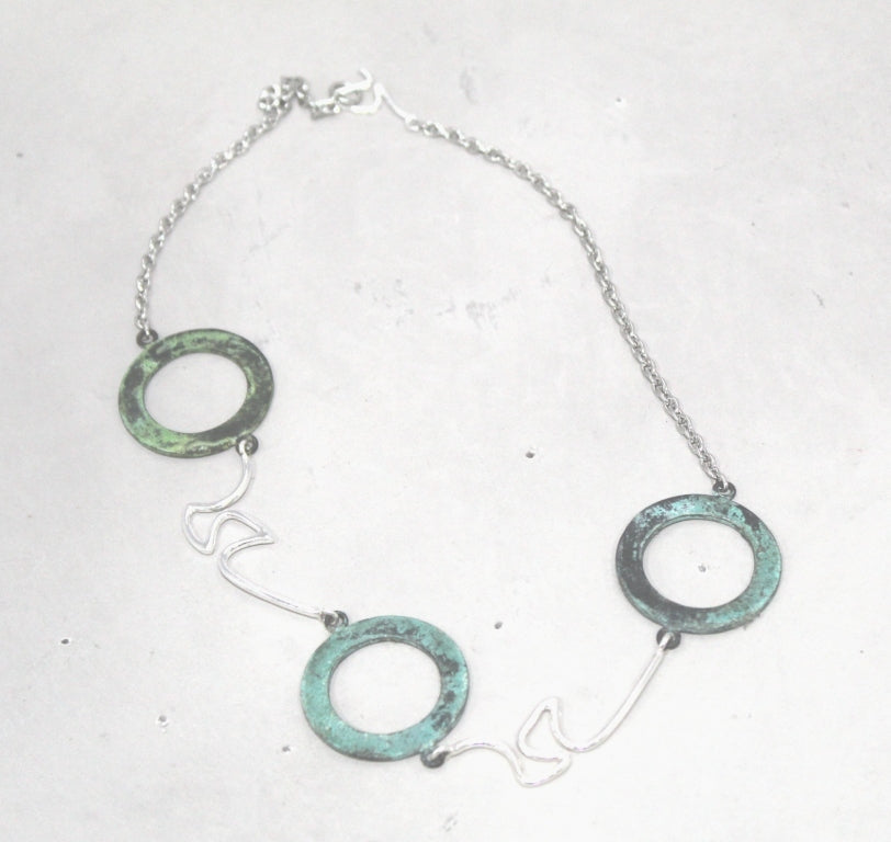 Choker Necklace In Patina & Silver