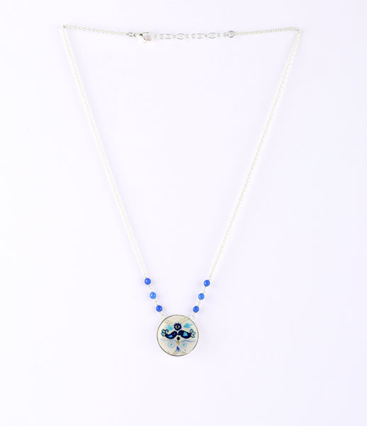 Ceramic Beaded Pendant Drop Necklace