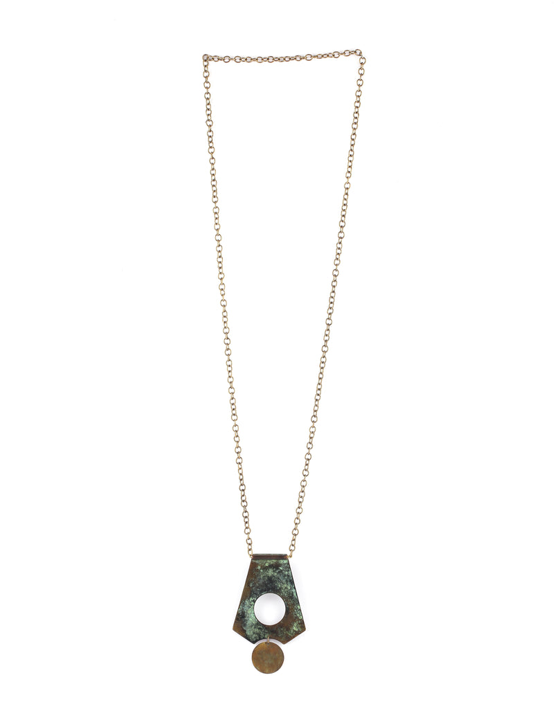 Drop Necklace in Patina & Brass