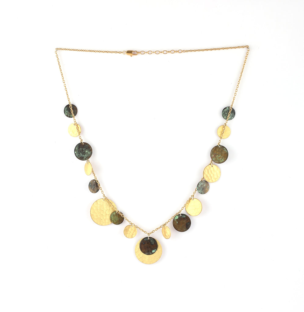 Multi-Circle Necklace in Patina & Gold