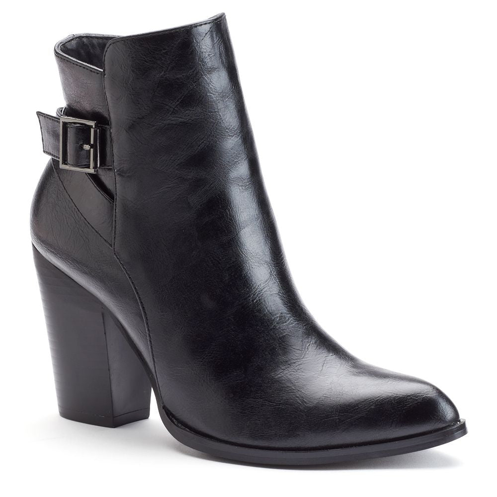 Vegan Leather Side Buckle Zip Up Almond Shaped Toe Chunky Heel Bootie Perfect for any occasion Comfortable