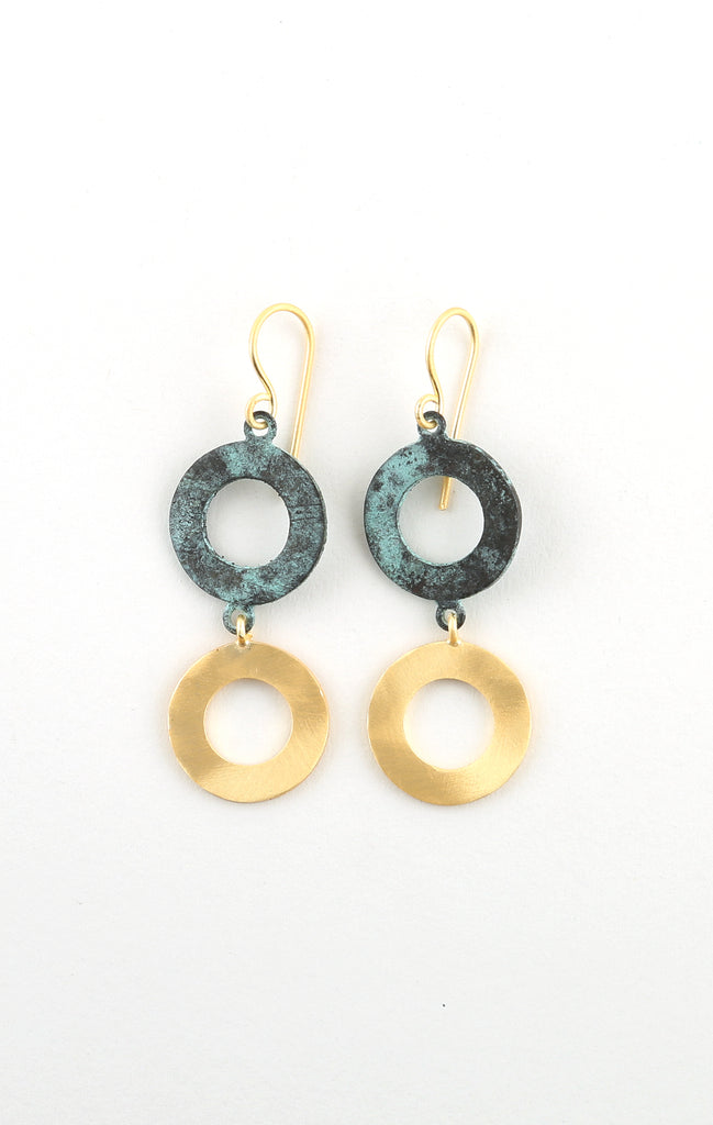 Two Tier Drop Earrings in Patina & Gold