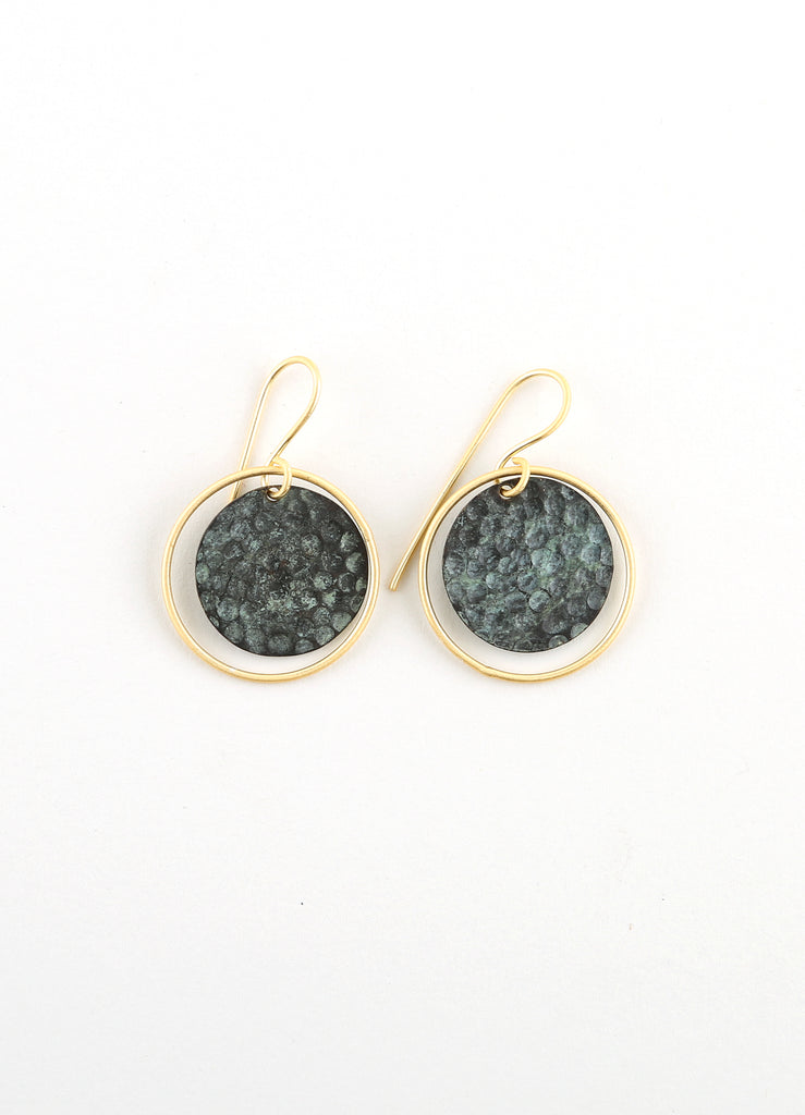 Small Drop Earrings in Patina & Gold