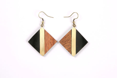 Diamond Shaped Earrings in Black/Gold/Wood Combo