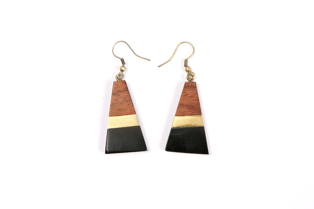 Black/Gold/Wood Combo Triangle Earrings