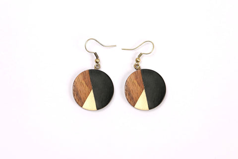 Small Circle Earrings in Black/Gold/Wood Combo