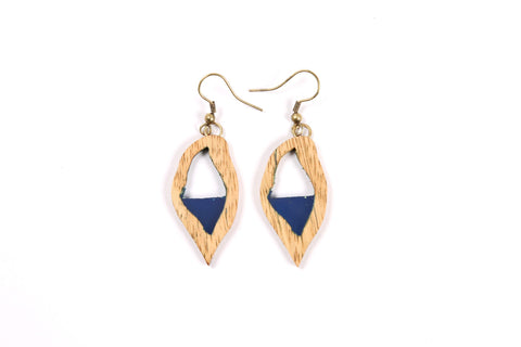 Blue Resin/Wood Combo Earrings
