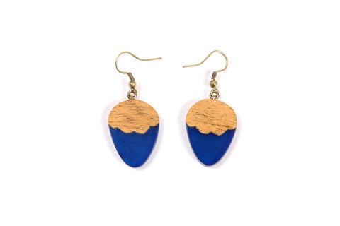 Blue Resin Acorn Shape Earrings