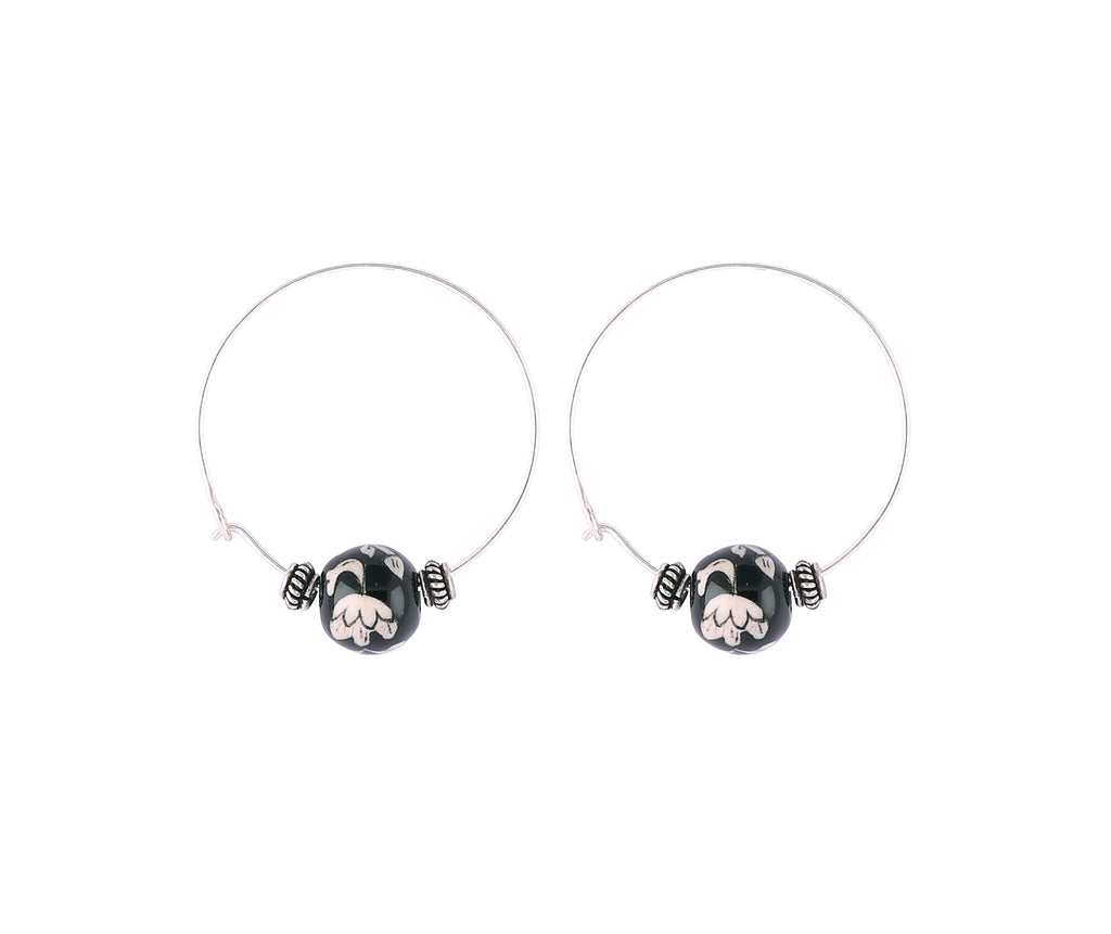Small Hoop earrings with Ceramic Ball