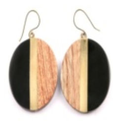 Circle Earrings in Black/Gold/Wood Combo