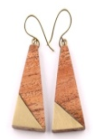 Triangle Earrings in Gold/Wood Combo