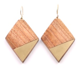 Diamond Shaped Earrings in Gold/Wood Combo